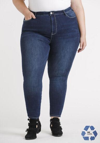 Women's Plus Size Power Sculpt High Rise Dark  Skinny Jeans, DARK WASH, hi-res