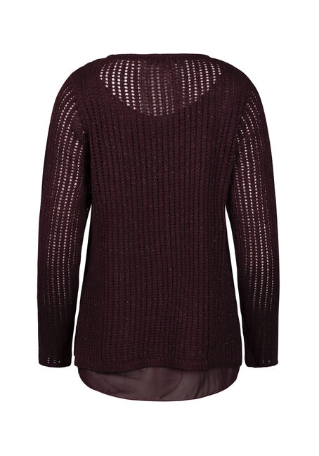 Women's Chiffon Underlay Shimmer Sweater, RAISIN, hi-res