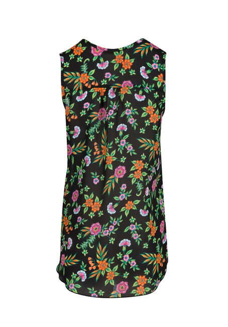 Ladies' Floral Pleat Front Tank, BLACK, hi-res