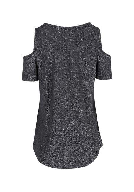 Ladies' Shimmer Cold Shoulder Top, SILVER, hi-res