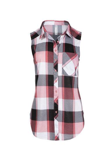 Women's Sleeveless Knit Plaid Shirt, PINK, hi-res