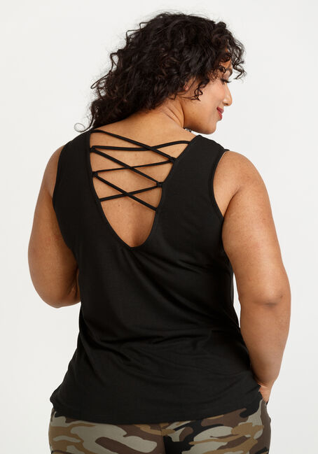Women's Daisy Heart Cage Back Tank, BLACK, hi-res