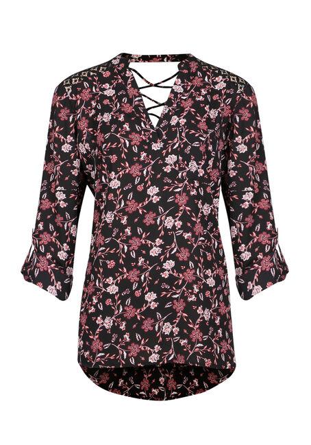 Ladies' Floral Roll Sleeve Top