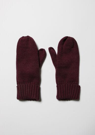Women's Knit Mittens, BURGUNDY, hi-res