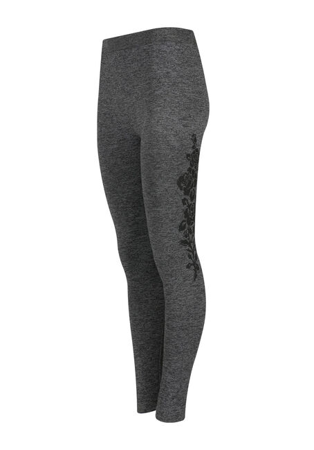 Women's Floral Side Legging, CHARCOAL, hi-res
