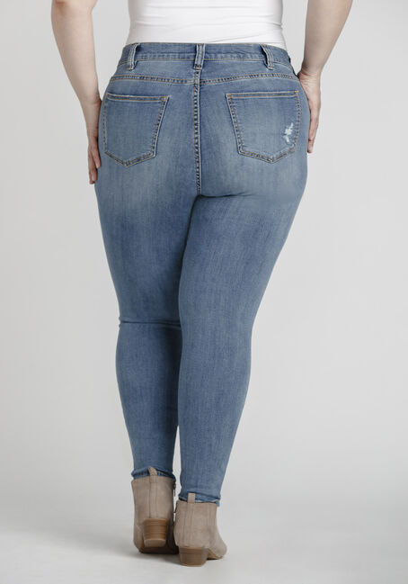 Women's Plus Size Mid Wash Distressed SkinnyJeans, MEDIUM WASH, hi-res