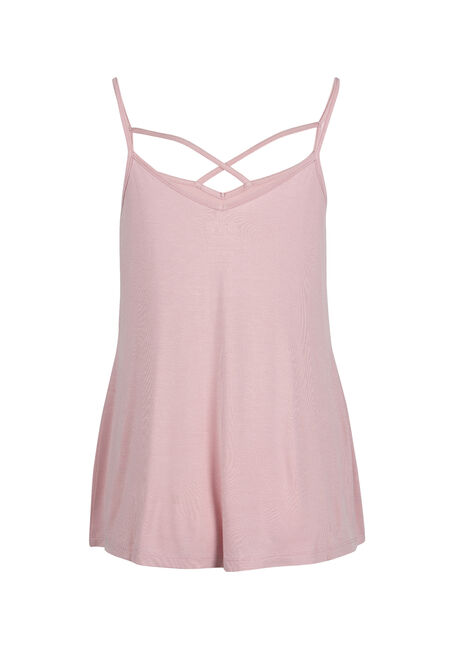 Ladies' Cage Neck Strappy Tank, ROSEWATER, hi-res