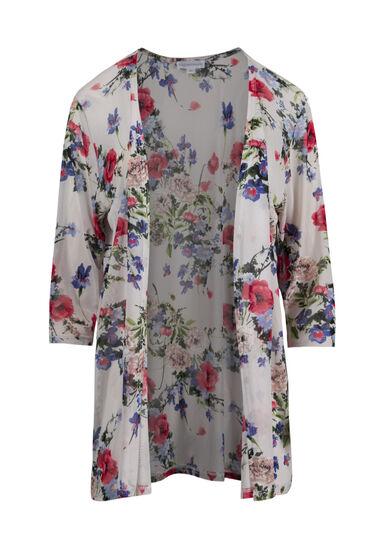 Women's Mesh Floral Kimono, WHITE, hi-res