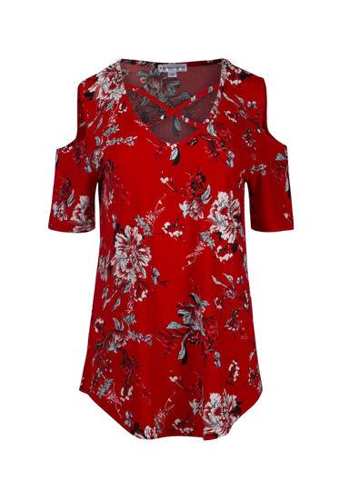 Women's Floral Cold Shoulder Top, RED SEA, hi-res