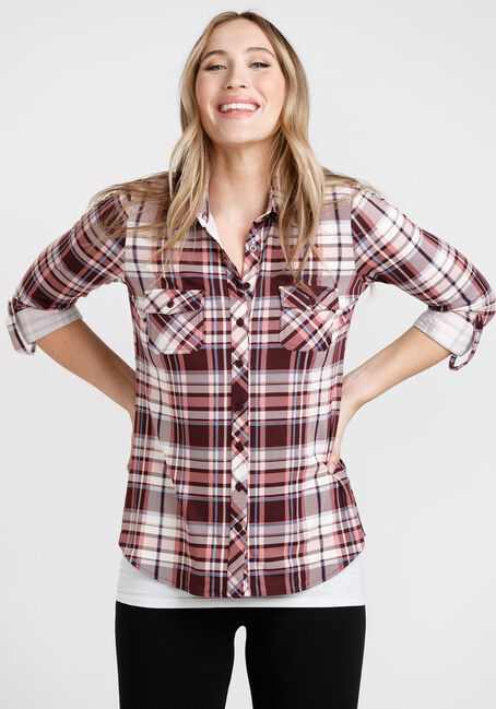 Women's Knit Plaid Shirt