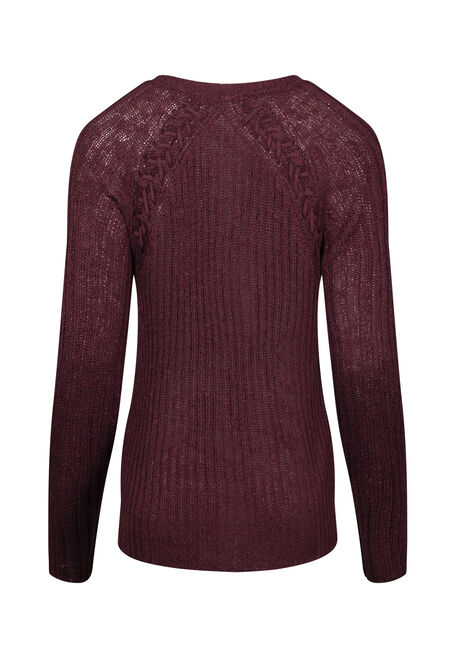 Women's Pointelle Sweater, BURGUNDY, hi-res