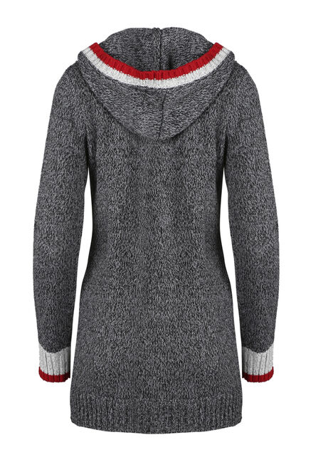 Ladies' Cabin Cardigan, CHARCOAL/ RED, hi-res