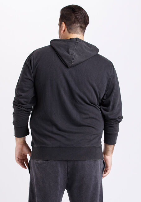 Men's Washed French Terry Hoodie, BLACK, hi-res