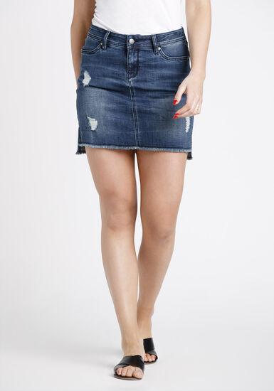 Women's Step Hem Denim Skirt, DARK WASH, hi-res