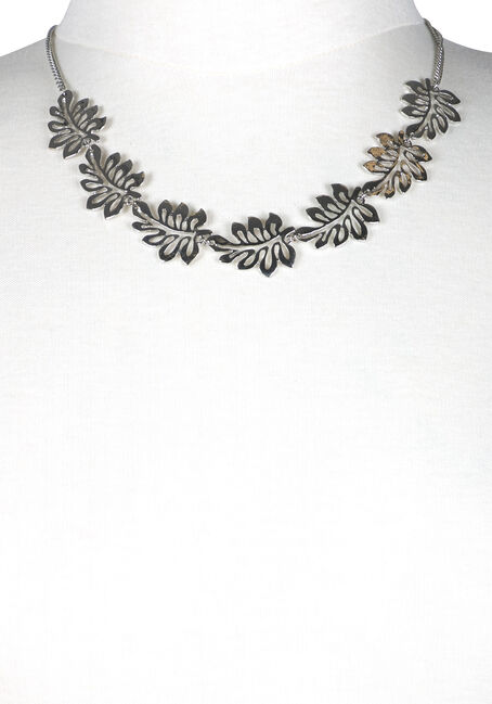 Women's Tropical Leaves Necklace, RHODIUM, hi-res