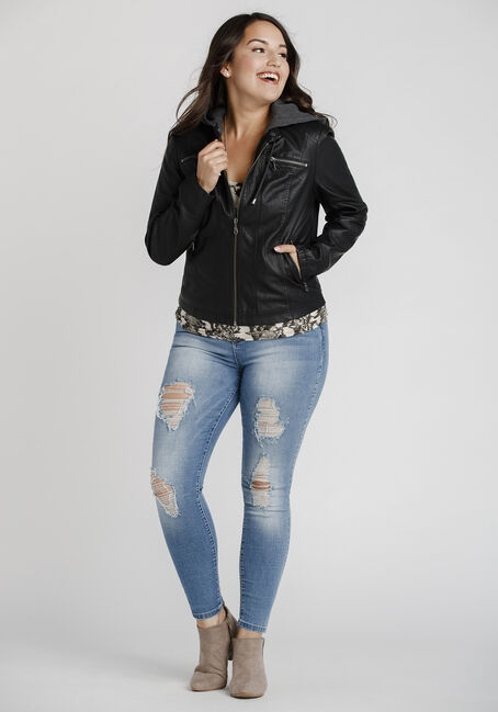 Women's Hooded Moto Jacket, BLACK, hi-res
