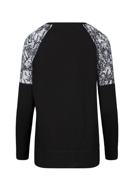 Women's Snake Print Insert Fleece, BLACK, hi-res