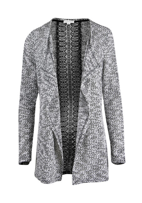 Ladies' Textured Crochet Open Cardigan