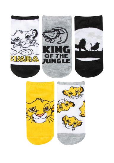 Women's 5 Pair Lion King Socks, YELLOW, hi-res
