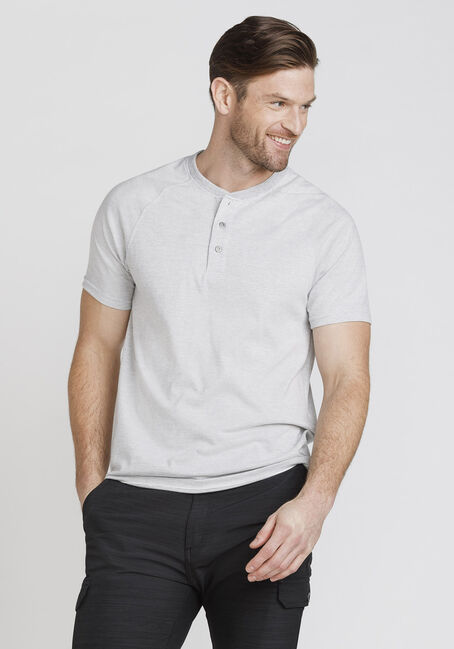 Men's Everyday Mini Stripe Henley Tee, WHITE, hi-res
