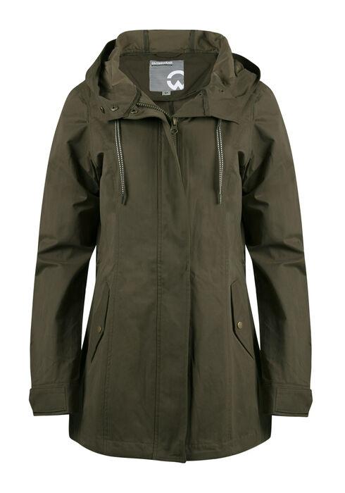 Ladies Hooded Anorak Jacket, OLIVE, hi-res