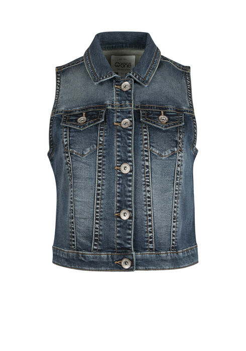 Ladies' Super Soft Jean Vest, DARK WASH, hi-res