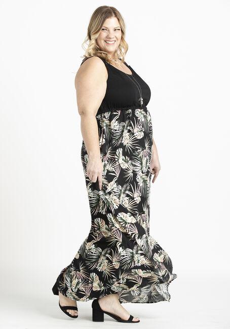 Women's Knit Top Maxi Dress, BLACK, hi-res