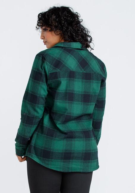 Women's Flannel Plaid Tunic Shirt, DARK GREEN, hi-res