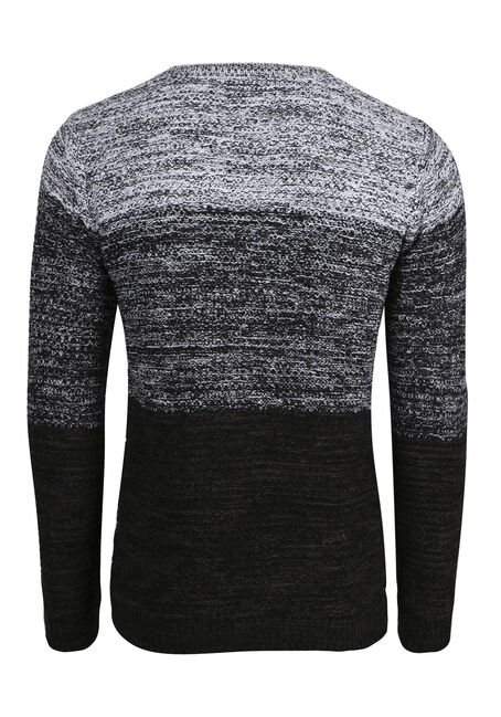 Men's Ombre Sweater, BLK/WHT, hi-res