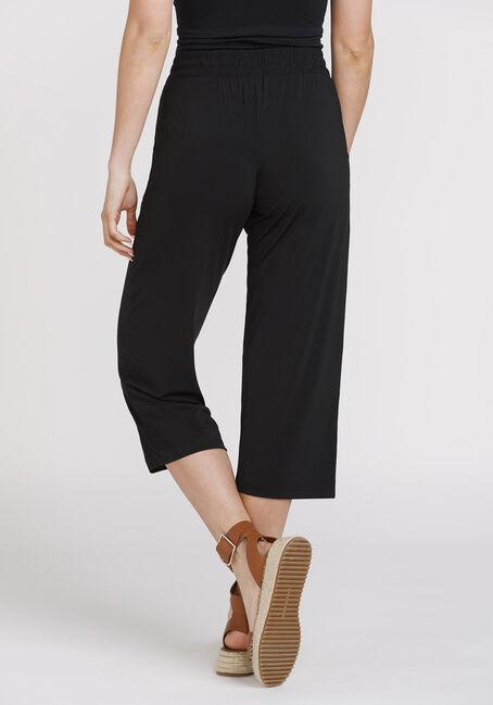 Women's Cropped Wide Leg Capri, BLACK, hi-res