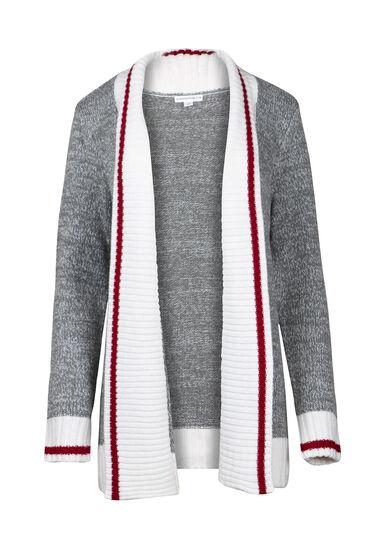 Women's Shawl Collar Cabin Cardigan, Grey Marl, hi-res