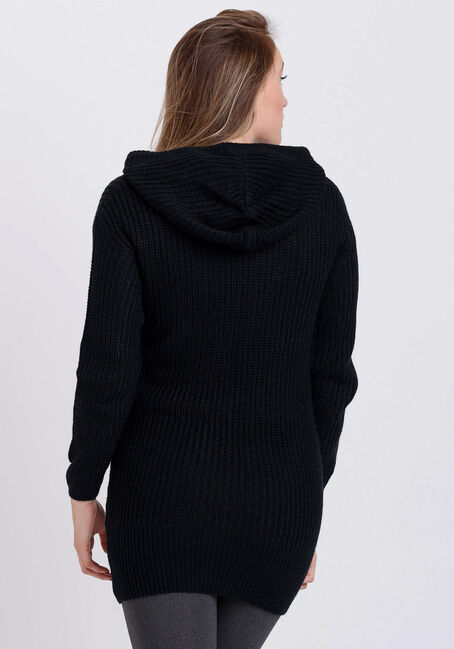Women's Hooded Tunic Sweater, BLACK, hi-res