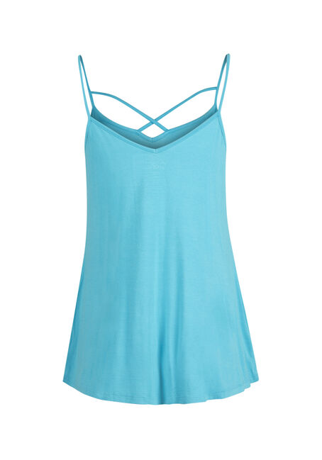 Ladies' Cage Neck Strappy Tank, AQUA, hi-res