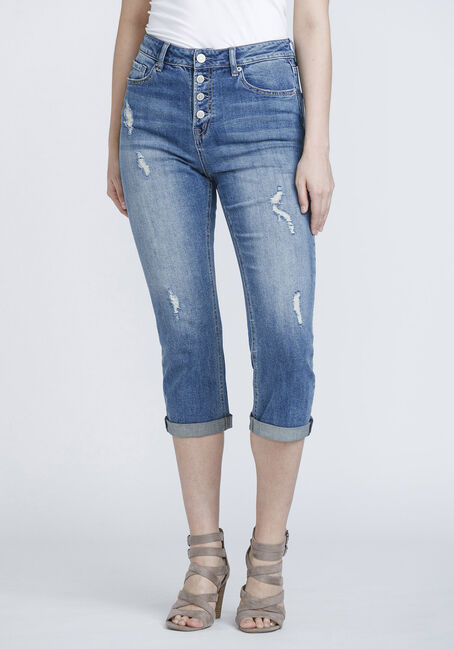 Women's High Rise Distressed Cuffed Crop