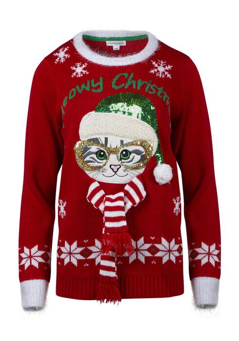 Ladies' Christmas Cat Sweater, RED, hi-res