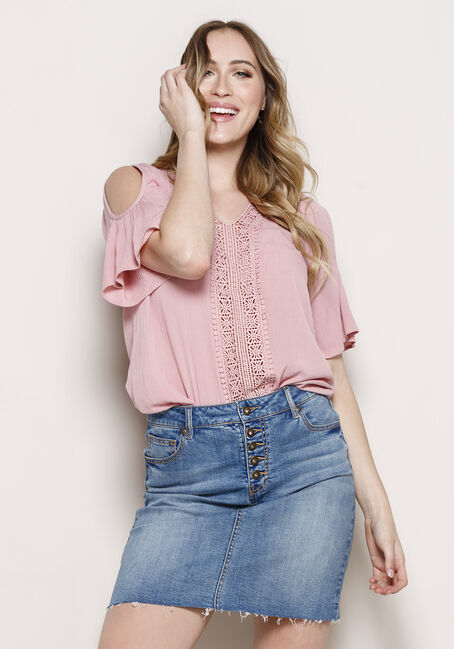 Women's Crochet Trim Cold Shoulder Top, DUSTY PINK, hi-res