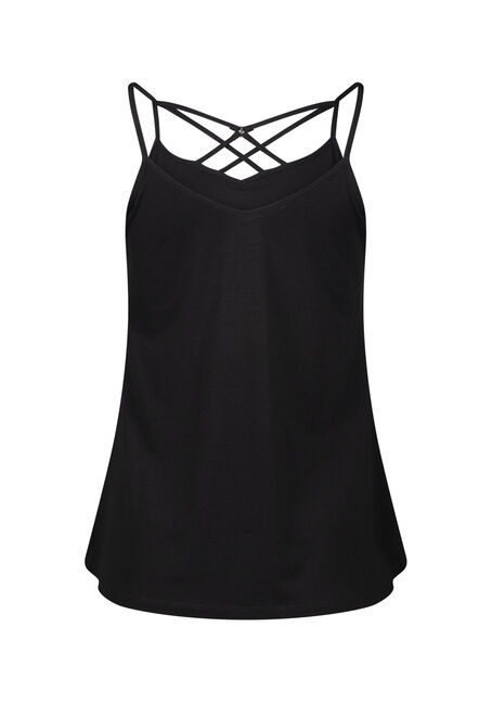 Women's Cage Neck Tank, BLACK, hi-res