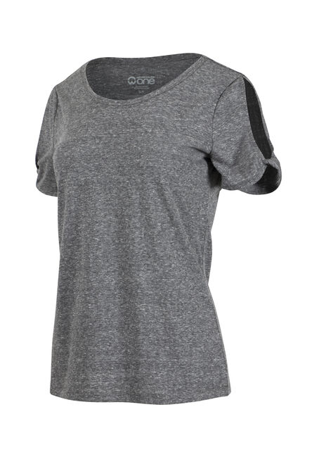 Women's Split Sleeve Tee, BLACK, hi-res