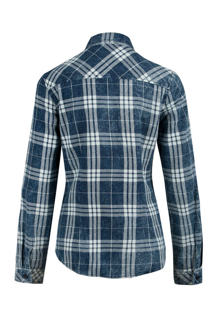 Ladies' Plaid Shirt, MOONLIGHT BLUE, hi-res
