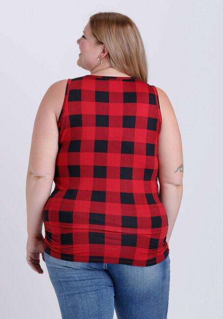 Women's Plaid Super Soft Tank, RED/BLK, hi-res