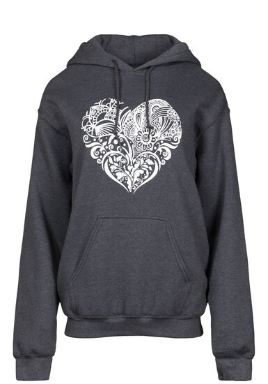 Women's Patchwork Heart Popover, CHARCOAL, hi-res