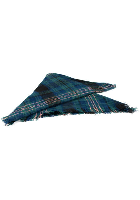 Women's Plaid Blanket Scarf, MEDIUM BLUE, hi-res