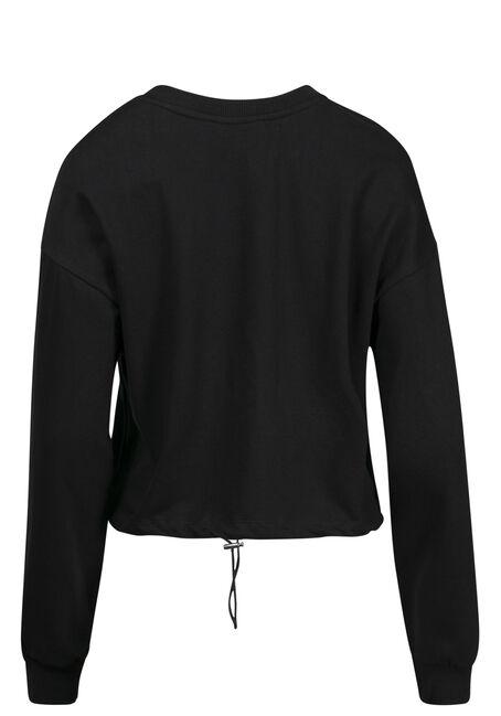 Women's Cinched Waist Sweatshirt, BLACK, hi-res