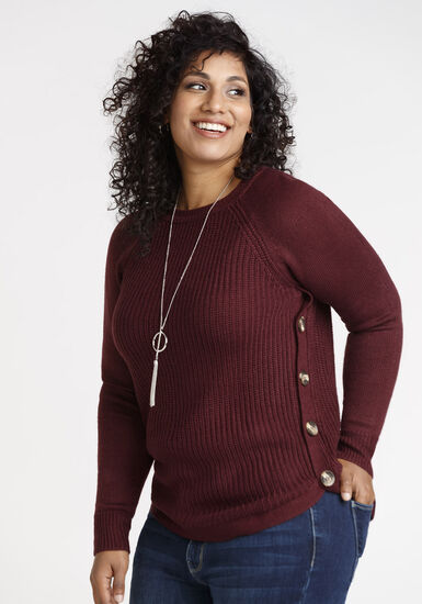 Women's Crew Neck Pullover, WINE, hi-res