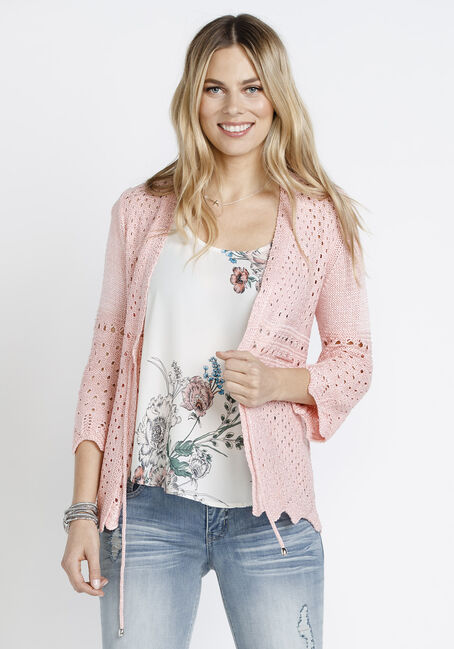 Women's Tie Waist Cardigan, ROSE QUARTZ, hi-res