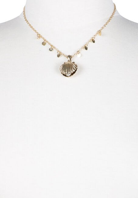 Ladies' Short Seashell Necklace, GOLD, hi-res