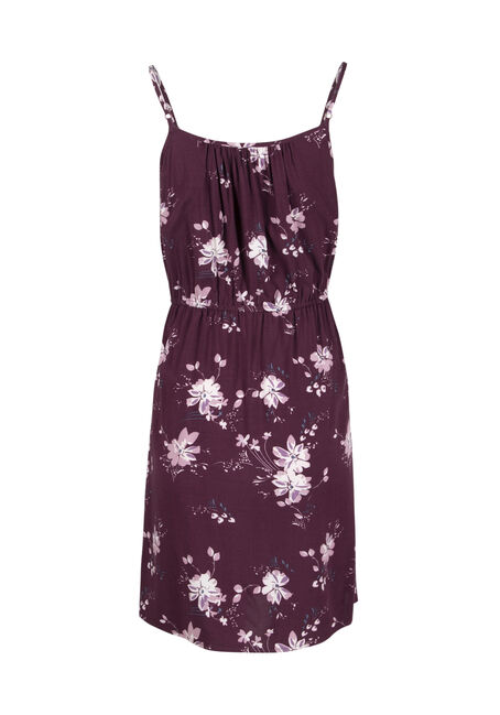 Women's Floral Keyhole Dress, PURPLE, hi-res