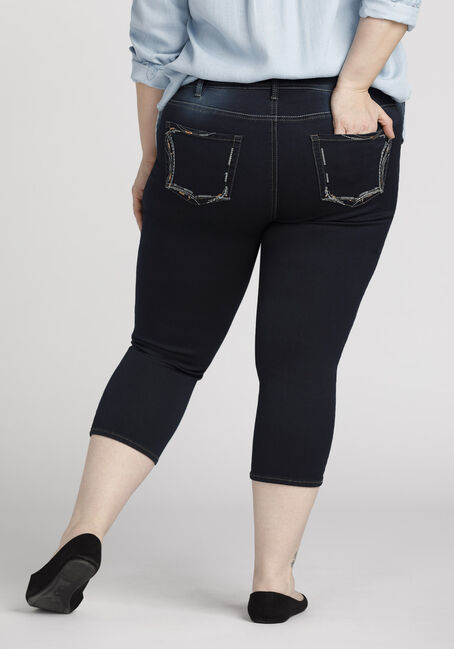 Ladies' Plus Size Skinny Capri, RINSE WASH, hi-res