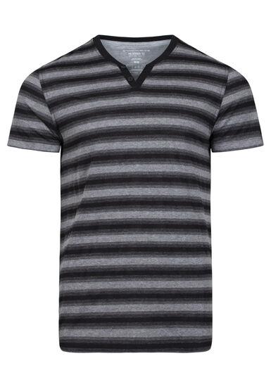 Men's Everyday Striped V-Neck Tee, BLACK, hi-res