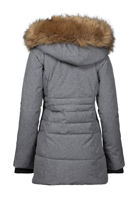 Women's Double Zip Quilted Parka, HEATHER GREY, hi-res